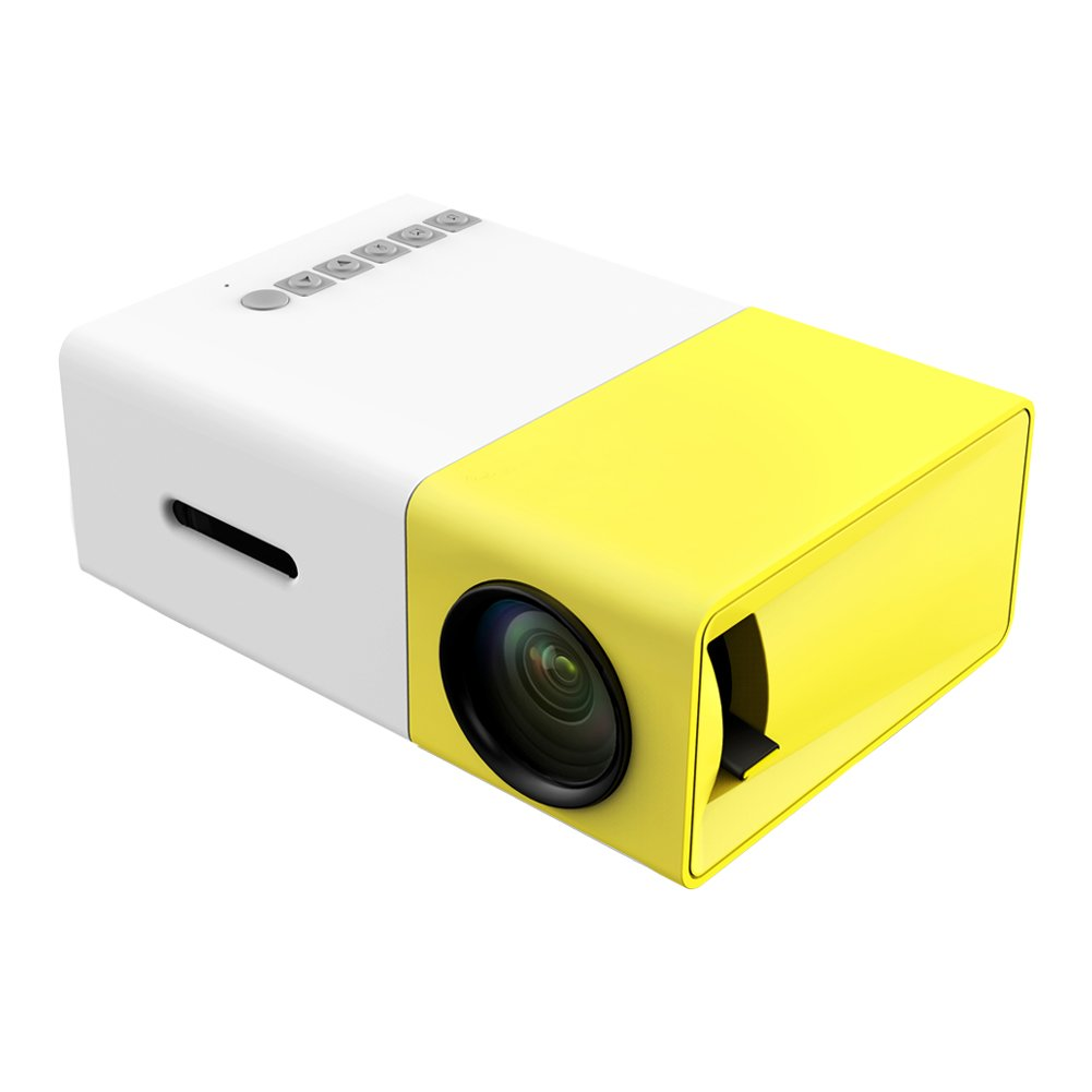 Projector, LoongSon Mini Portable LED Projector, Smartphone Pocket Projector with AV USB SD HDMI for Video/Movie/Game/Home Theater Video Projector (Yellow)