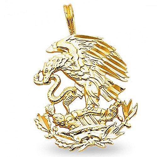 - Eagle & Snake Pendant Solid 14k Yellow Gold Charm Diamond Cut Polished Design 23 x 20 mm