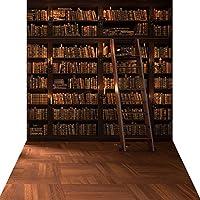 KonPon 5x10ft Silk Cloth Library Bookshelf Photography Backdrop KP-004