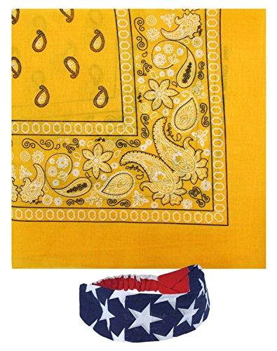 Bandanas Cotton 12 Pack With a American Flag Bandana Headband (Gold, One Size) -