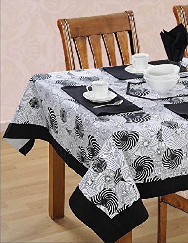 ShalinCraft Black White Cotton Spring Floral Square Table...