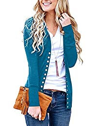 Steven McQueen Women's S-3XL Solid Button Front Knitwears Long Sleeve Casual Cardigans Blue 2XL