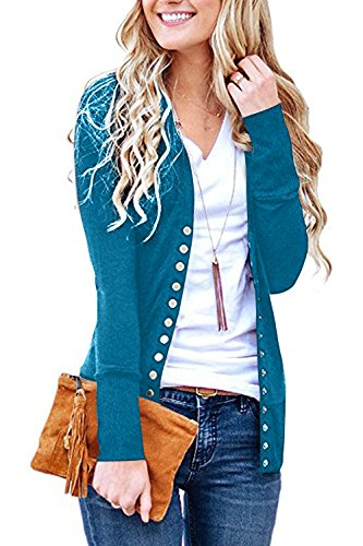 Solid Long Sleeve Cardigan - Steven McQueen Women's S-3XL Solid Button Front Knitwears Long Sleeve Casual Cardigans Blue M