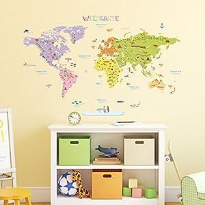 DECOWALL DMT-1306NDE Alemán Mapamundi de Color Vinilo Pegatinas Decorativas Adhesiva Pared Dormitorio Salón Guardería Habitación Infantiles Niños Bebés (Grandede)