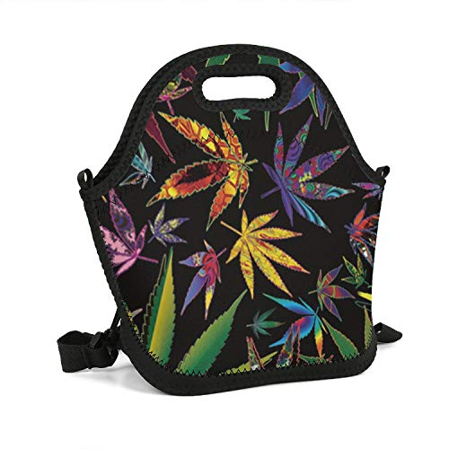 NAIT.1 HOME Marijuana Weeds Trippy Lunch Bag Lightweight Thermos Bag Packet