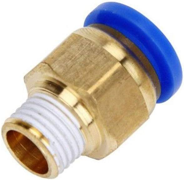10Pcs Male Stud Push in Fit Pneumatic Fittings for Air Water Hose Tube 4mm Push Fit /& 1//4 Thread