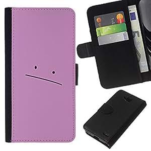 Stuss Case / Funda Carcasa PU de Cuero - Sad Pink Face - LG OPTIMUS L90