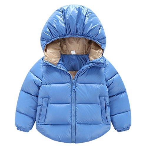 Happy Cherry Baby Kleinkind Kinder Jungen Mädchen Basic Winterjacke Daunenjacke Gefütterte Gesteppte Jacket mit Kapuze - Blau Größe 80cm