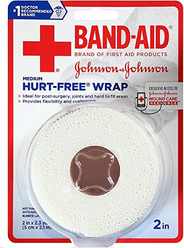 (BAND-AID First Aid Hurt-Free Wrap, Medium 2 inch, 1 ea (Pack of 12))