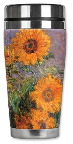 Mugzie MAX - 20-Ounce Stainless Steel Travel Mug with Insulated Wetsuit Cover - Monet: Sunflowers