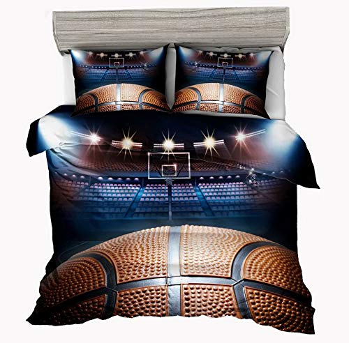 Hemau Premium New Soft Madness in March 3D Basketball Bedding Set for Teen Boys, Set,3pcs 1 2 Pillowcases(No Duvet&Comforter Inside), Queen Size | Style 503195438