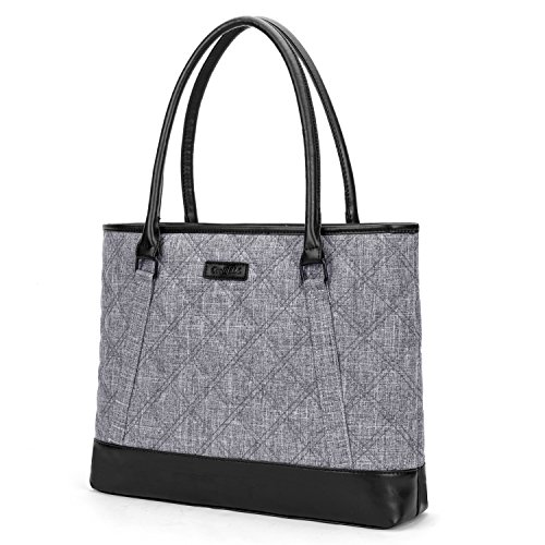 CoolBELL Women Tote Bag 15.6 Inch Laptop Handbag Nylon Briefcase Classic Shoulder Bag Top Handle Bag (Grey)