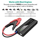Car Jump Starter RAVPower 1000A Peak Current Quick Charge 3.0 12V 14000mAh (for All 12V Gas & Diesel Engines up to 7L) Power Bank with 2.4A iSmart Ports Built-in LED Flashlight Car Battery Booster