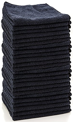 Grade Microfiber All-Purpose Superior Microfiber Towels! Soft, Plush & Durable - Ideal for Screens, Laptops, Windows, Mirrors, Gym, Workout and More! (Black, 24 Pack)
