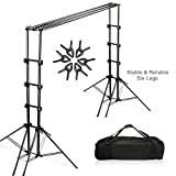 Julius Studio Double Stable 10 x 8.5 ft Photography Triple Backdrop Support System Kit with 6 Leg Support Stands, Extendable Cross Bar, Background Clamps, and Carry Bag, JSAG443