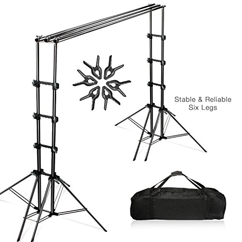 Julius Studio Double Stable 10 x 8.5 ft Photography Triple Backdrop Support System Kit with 6 Leg Support Stands, Extendable Cross Bar, Background Clamps, and Carry Bag, JSAG443 (Multiple Background Stand)