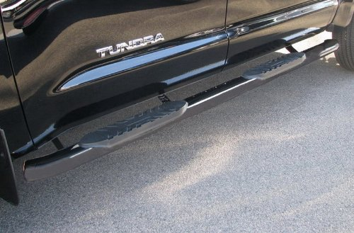 Truck Step Rails - MaxMate Custom Fit 1999-2016 Ford F250/F350/F450/F550 Super Duty Crew Cab 5inch Black Oval Bend Side Step Rails Nerf Bars Running Boards (2pcs with Mounting Bracket Hardware Kit)
