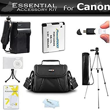 Essential Accessories Kit For Canon Powershot SX400 IS, SX410 IS, SX420 IS Digital Camera Includes Replacement (900maH) NB-11L Battery + AC/DC Charger + Case + 50 Tripod + Screen Protectors + More