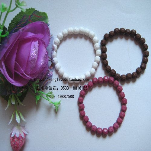 - Pink tourmaline bead bracelet white brown tri-color optional small Earth