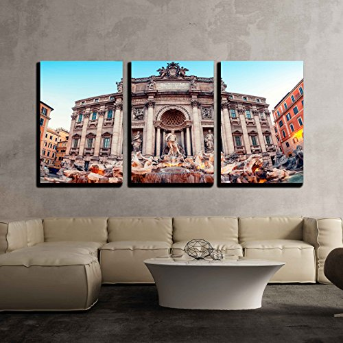 "wall26 - 3 Piece Canvas Wall Art - Trevi Fountain (Fontana di Trevi). Rome - Italy. - Modern Home Decor Stretched and Framed Ready to Hang - 16""x24""x3 Panels"
