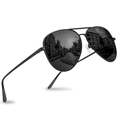 febf3607e Polarized Aviator Sunglasses - Force Durable Mirrored Lens For Mens Womens  UV400 (Charcoal × Carbon