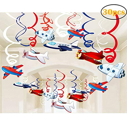 (30Ct Airplanes Hanging Swirl Home Decorations for Airplane Themed Birthday Baby Shower Party)