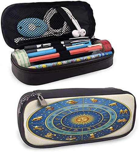 KLKLK Estuche Astrology Pencil Storage Bag Wheel of Astrological Signs Names and Dates with Moon Sun in Middle Cute Accessories Blue Light Blue and Gold: Amazon.es: Oficina y papelería
