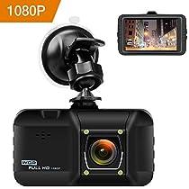 """OKEEY Dash Cam Telecamera per Auto Full HD 1080P, 3.0"""" LCD, Obiettivo Grandangolare di 170 Gradi,Rilevatore di Movimento, Registrazione in Loop, G-Sensor"""