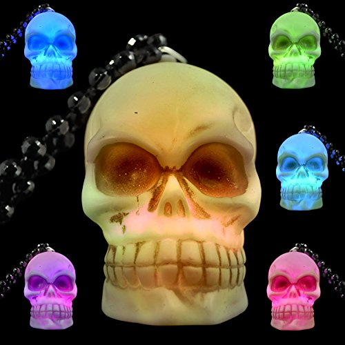 Light Up Soft Skeleton Skull on Bead Necklaces (Set of 12) - Light Up Pirate Necklace