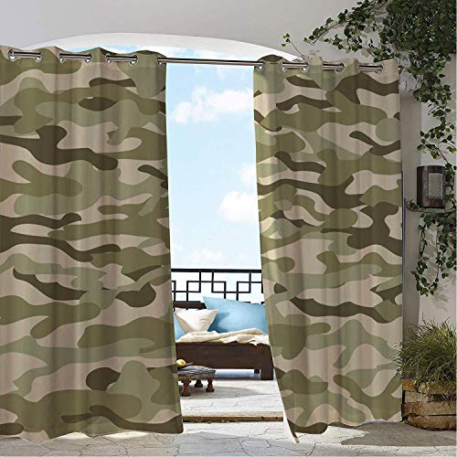 Linhomedecor Balcony Waterproof Curtains Camo Classical Camouflage Pattern Simplicity in Green Tones Graphic Fawn Slate Brown Dusk and Eggshell doorways Grommet Panel Curtains 84 by 108 inch