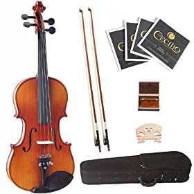 Cecilio 3/4 CVN-320L Left-Handed Ebony Fitted Solid Wood Violin 9