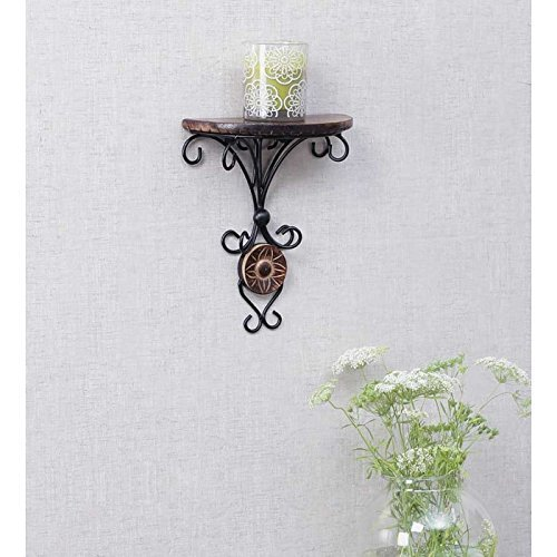 Naaz wood arts Beautiful Small Size (9 Inch Height) Antique Inspired Wall Hanging Wood & Wrought Iron Fancy Wall Bracket for Home and Living Room Decoration.