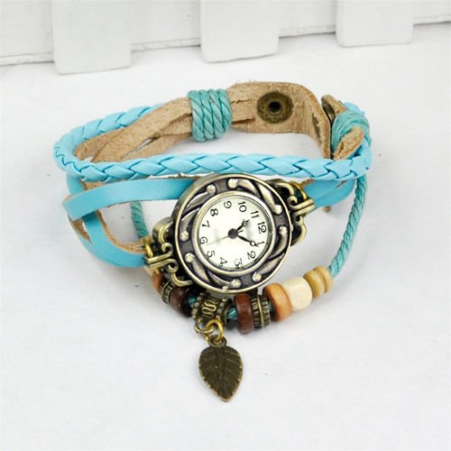 Gleader Reloj de Pulsera Cuarzo Banda de Cuero Estilo Antiguo para Chica Mujer - Azul Claro: Amazon.es: Relojes