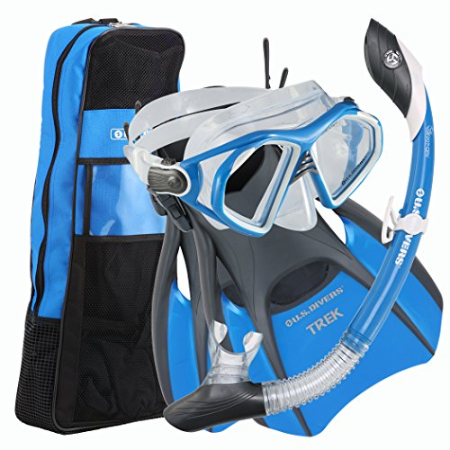 U.S. Divers Admiral Prmeium Snorkeling Set - Silicone Mask, Trek Travel Fins, Dry Top Snorkel + Snorkeling Gear Bag, Cobalt Blue, Large