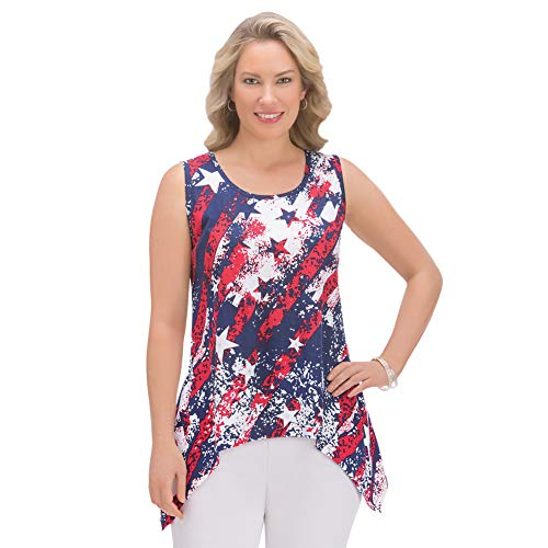 Collections Womens Patriotic Americana Stars and Stripes Sequins Scoop Neck Sharkbite Sleeveless Tank Top