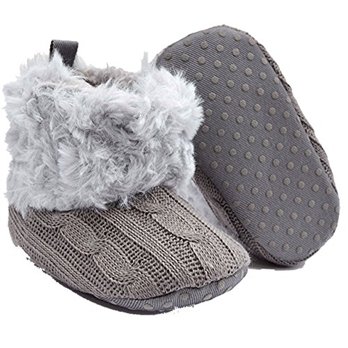 Old Tjikko Baby Warm Slippers Non Skid Boys and Girls Fleece Booties ,Baby Slipper Socks (6-9 Months, Grey)