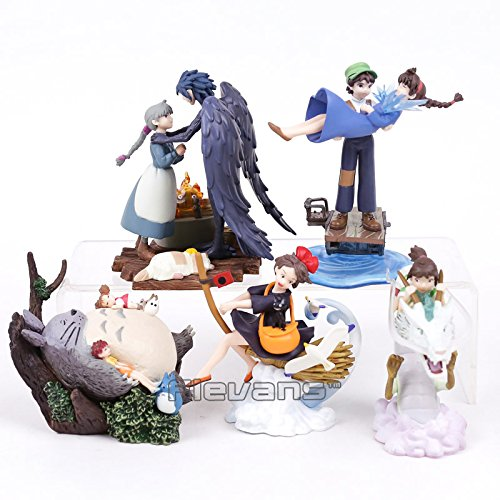 Spirited Away The Castle in the Sky Kiki's Delivery Service Totoro Howl's Moving Castle PVC Figures Collectible Toys 5pcs/lot