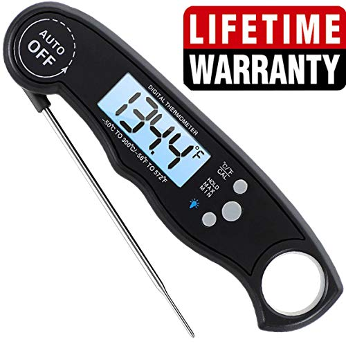 HOKICHEN Digital Meat Thermometer - Food Thermometer for Candy, Cooking, Grilling - Waterproof Pot Thermometer with Backlight - Instant Read Thermometer for BBQ Grilling, Smoking, Baking