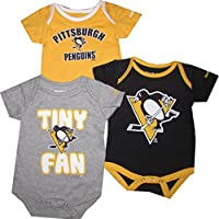 Pittsburgh Penguins 3pc Creeper Set Infant Baby Tiny Fan (6-9 Months)