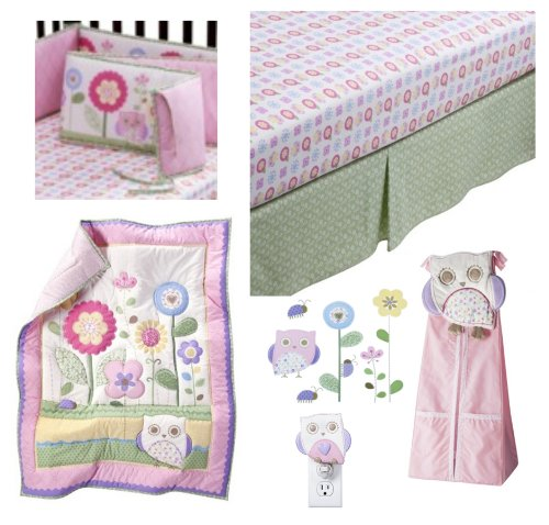 5 pc Circo Baby Girl Owls and Floral She's my Friend Collection- Includes: Owls and Floral 3 Pc Nursery set (comforter, sheet, dust ruffle), Floral Crib Bumper, Petit Fleur Diaper (Fleur Night Light)