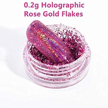 Amazon.com: 0.5G/Box Rose Gold Mirror Nail Glitter UV Gel Polish ...
