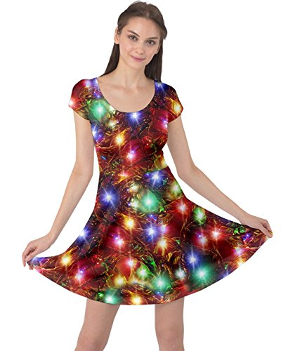 Sleeve CowCow Womens Santa 5XL Xmas Dress Deer Christmas Colorful Tree Short Lights Winter Vintage Snowman XS rvAwqdr