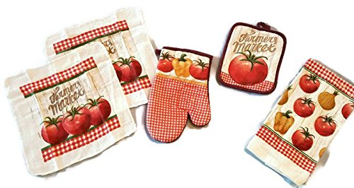 Farmer's Market Ripe Tomatoes 5 Piece Bundle Package Oven Mitt (1) Pot Holder (1) Kitchen Towels (1) Dish Cloths (2) (#4345)