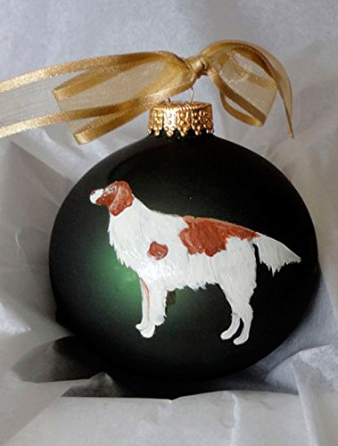 Irish Red and White Setter Dog Hand Painted Christmas Ornament - Can Be Personalized with ()