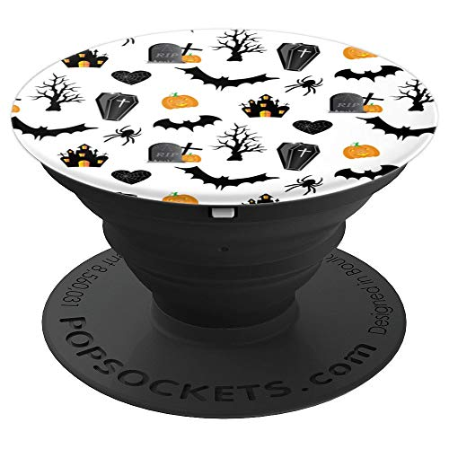 Coffins Bats Graves Spiders Haunted Houses Halloween Gift - PopSockets Grip and Stand for Phones and Tablets ()
