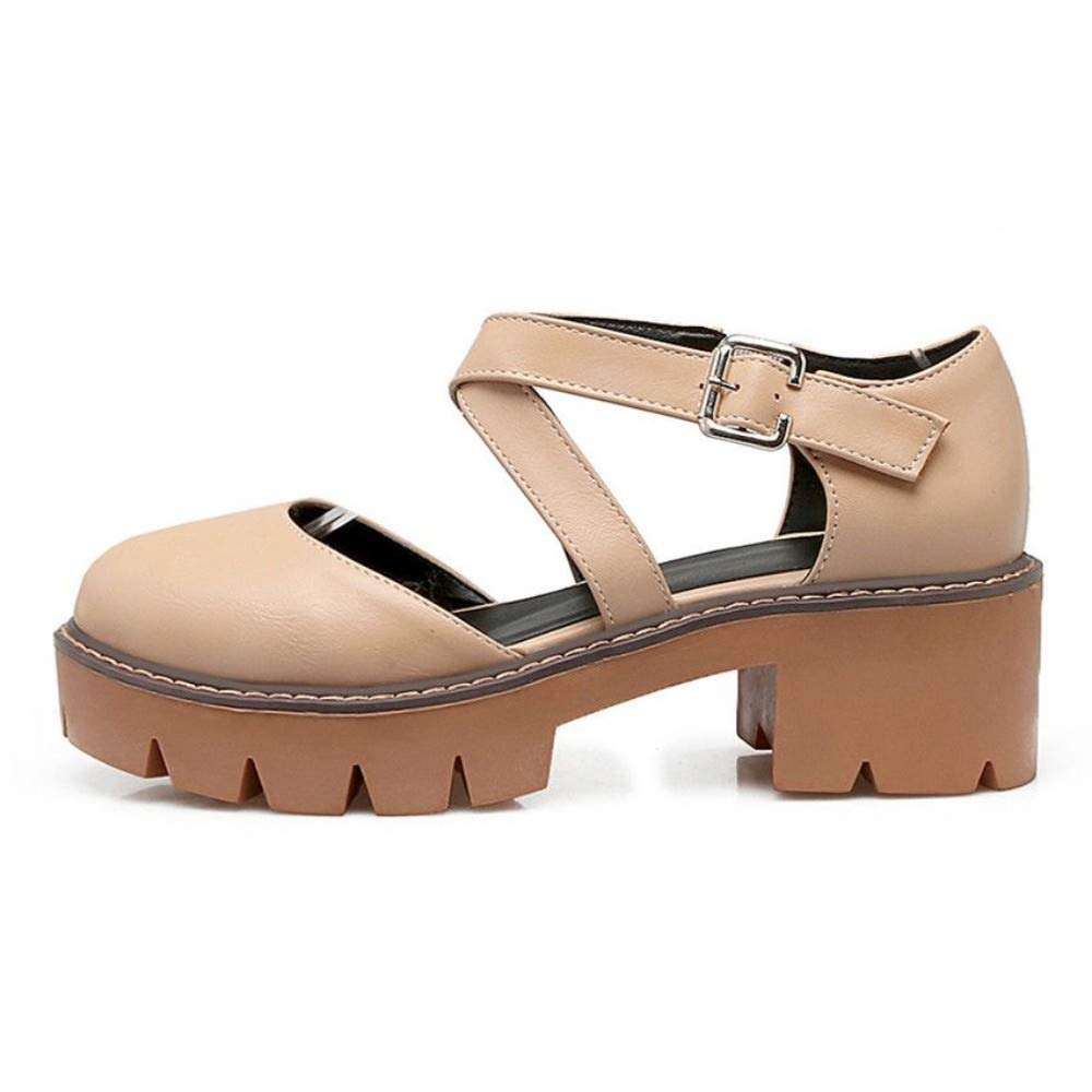 color A JQfashion Summer Women Sandals Chunky Heel Round Toe Cut-Outs Sweet Gladiator Ladies shoes Platform Heels