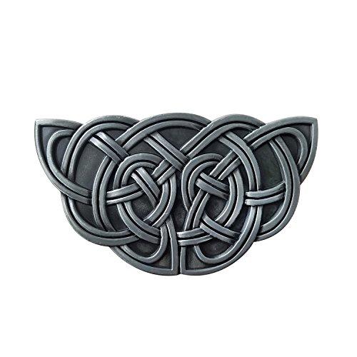 Celtic Buckle Knot (QUKE Vintage Irish Celtic Knot Silver Semicircular Belt Buckle for Men)