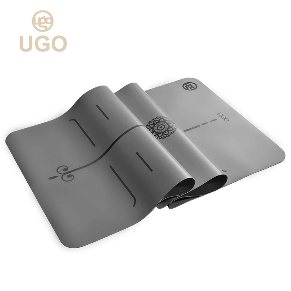 Ugo PRO スリム 2MM PU + 天然ゴム ヨガ フィットネス エクササイズマット ボディライン付き B07G2VR9GT グレー グレー