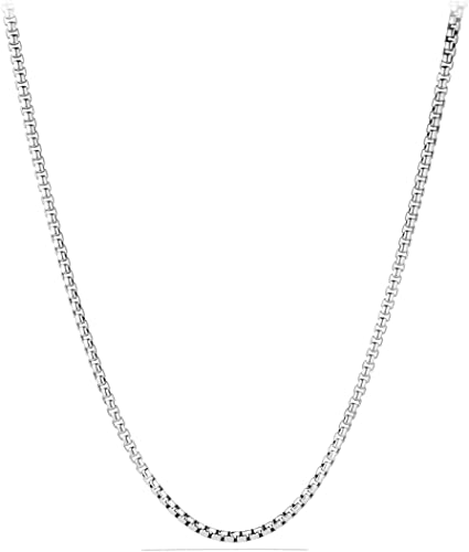 1.5mm Round Box Link Italian Chain Necklace in Solid .925 Italy Sterling Silver