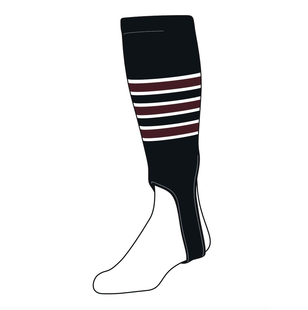 TCK Baseball Stirrups Large (300D, 5in) Black, White, Maroon by TCK Socks